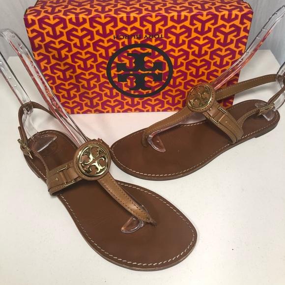 2d177e1937cf Tory Burch Brown Leather Cassia Thong Flat Sandals.  M 5b3c59a5e944bab8df41e9bd